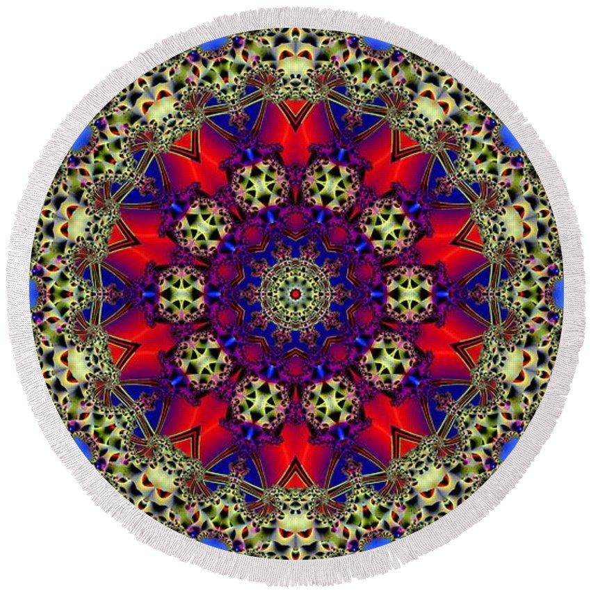 Kaleidoscope Round Beach Towel featuring the digital art Kaleidoscope 51 by Ron Bissett