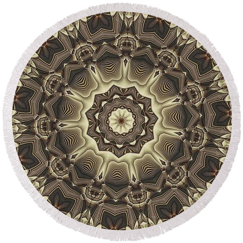 Kaleidoscope Round Beach Towel featuring the digital art Kaleidoscope 66 by Ron Bissett