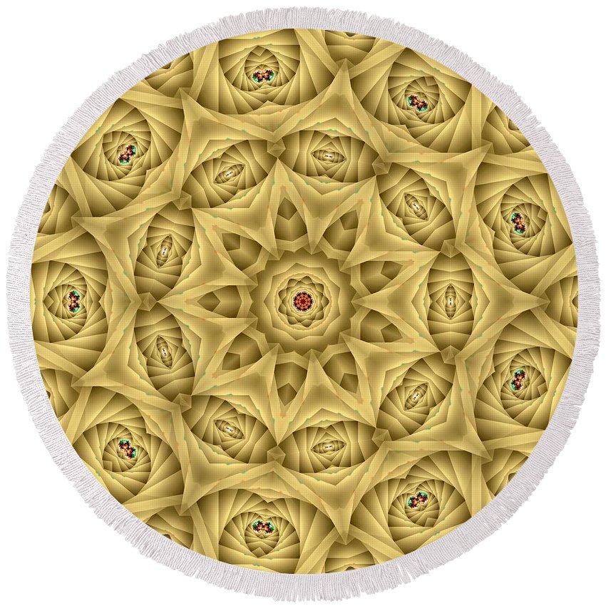 Kaleidoscope Round Beach Towel featuring the digital art Kaleidoscope 76 by Ron Bissett