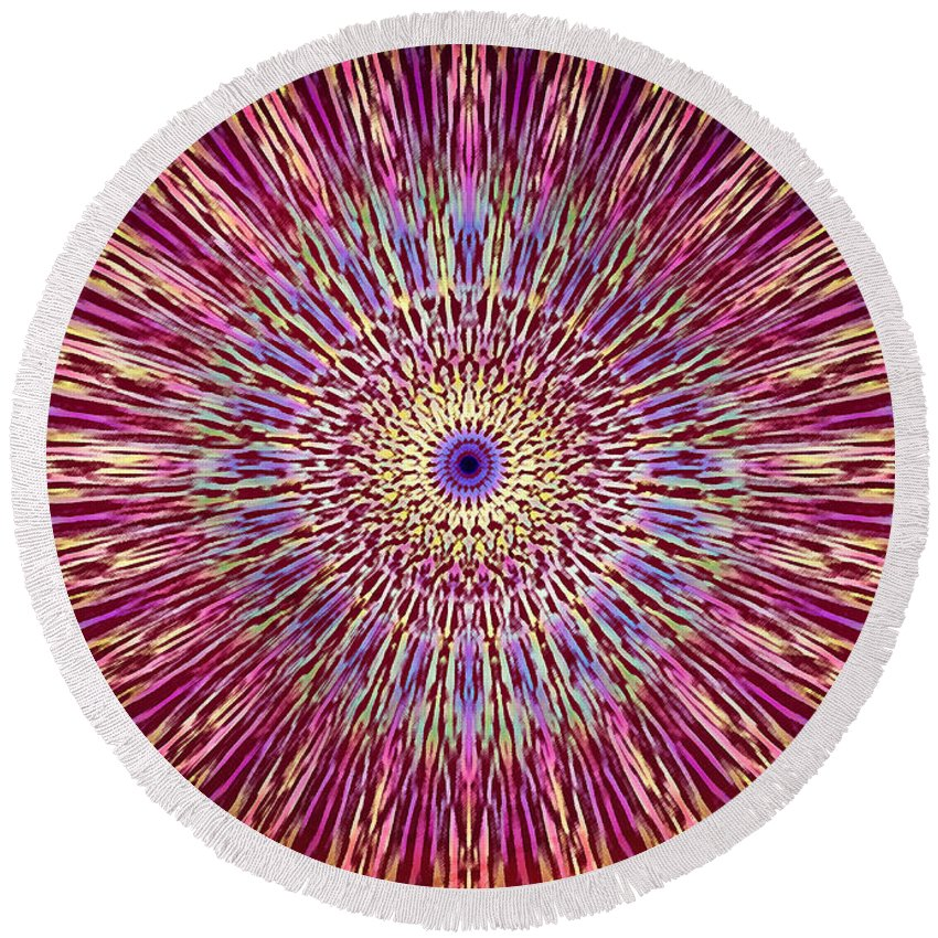 Abstract Round Beach Towel featuring the digital art Kaleidoscope Retro by Steve Ball