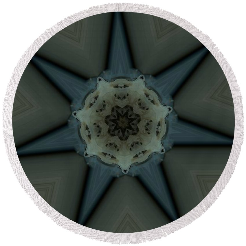 Kaleidoscope Round Beach Towel featuring the photograph Kaleidoscope Star by Donna Brown