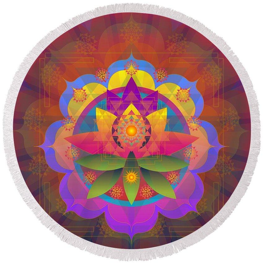 Mandala Round Beach Towel featuring the digital art Kamalabhu 2014 by Kathryn Strick