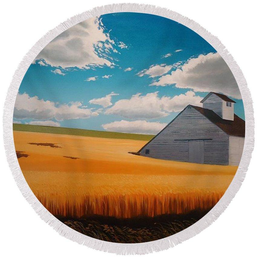 Landscape Round Beach Towel featuring the painting Kamiak in Summer by Leonard Heid