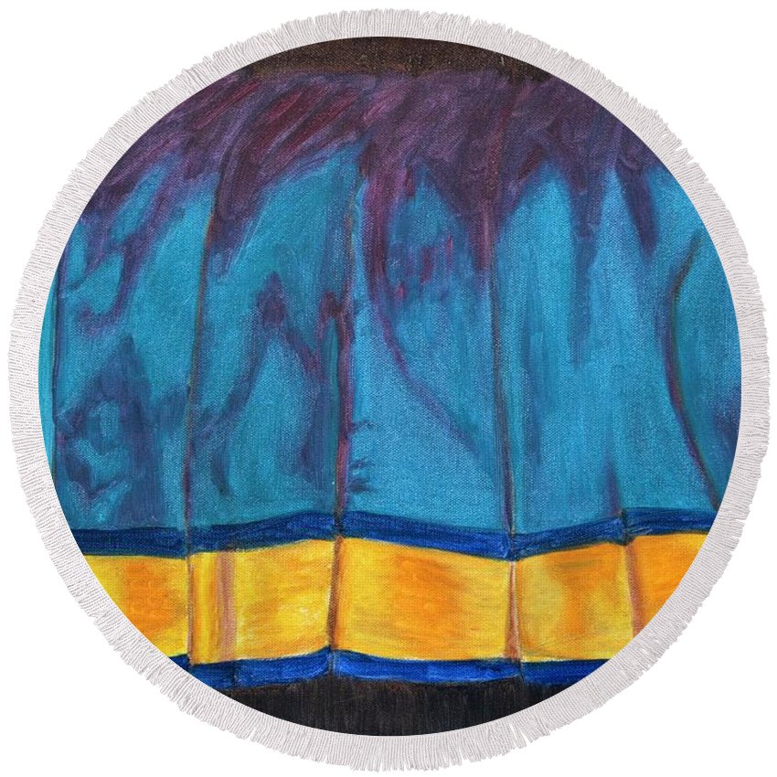 Kanchee Round Beach Towel featuring the painting Kanchi Saree by Usha Shantharam