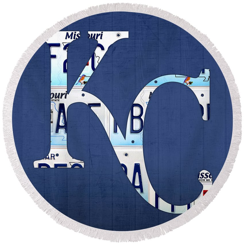 Kansas City Royals Round Beach Towel featuring the mixed media Kansas City Royals Recycled License Plate Art Baseball Logo by Design Turnpike