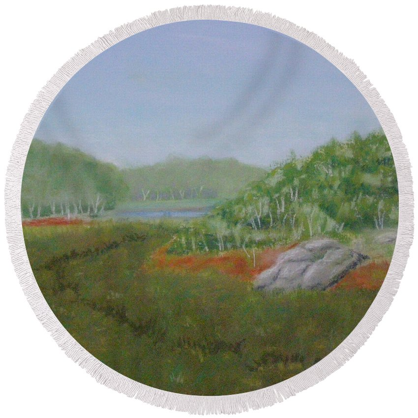 Landscape Round Beach Towel featuring the painting Kantola Swamp by Lynn Quinn
