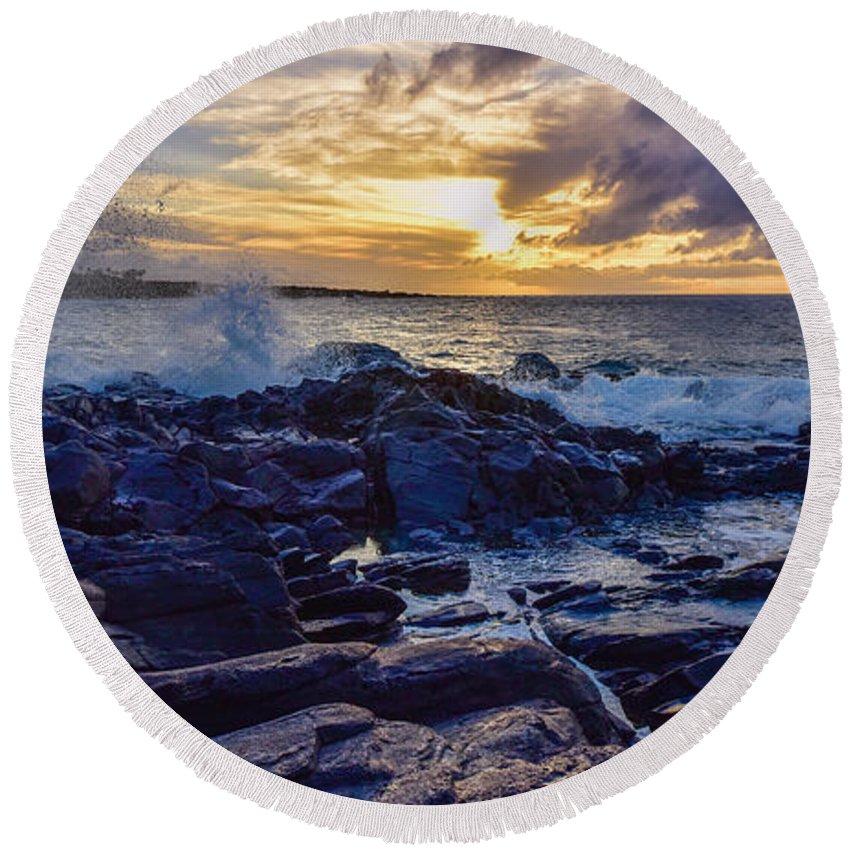 Sunset Round Beach Towel featuring the photograph Kapalua Sunset by Joy McAdams