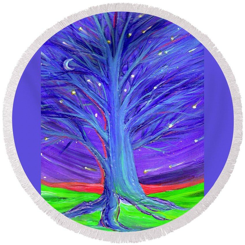 First Star Round Beach Towel featuring the digital art Karen's Tree 1 by First Star Art