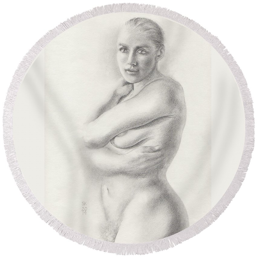 Female Nude Round Beach Towel featuring the drawing Kari Newly Pregnant Daydreaming by Scott Kirkman