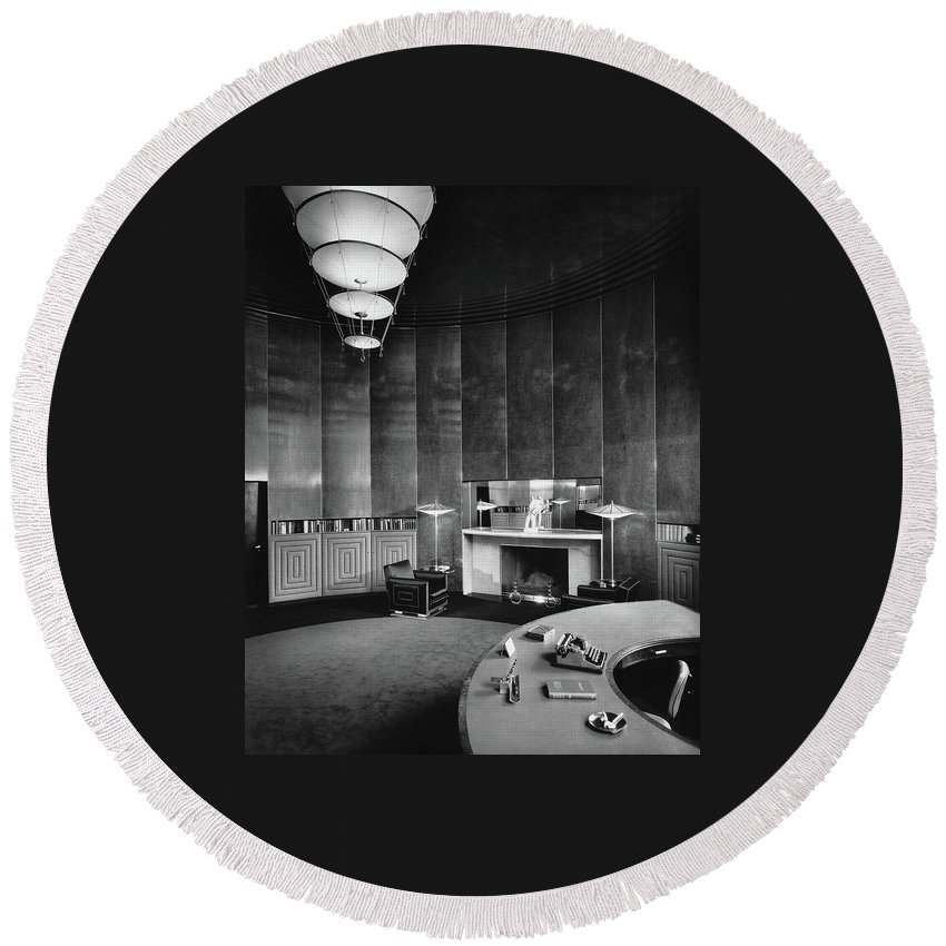 Interior Round Beach Towel featuring the photograph Katharine Brush's Study by F. S. Lincoln