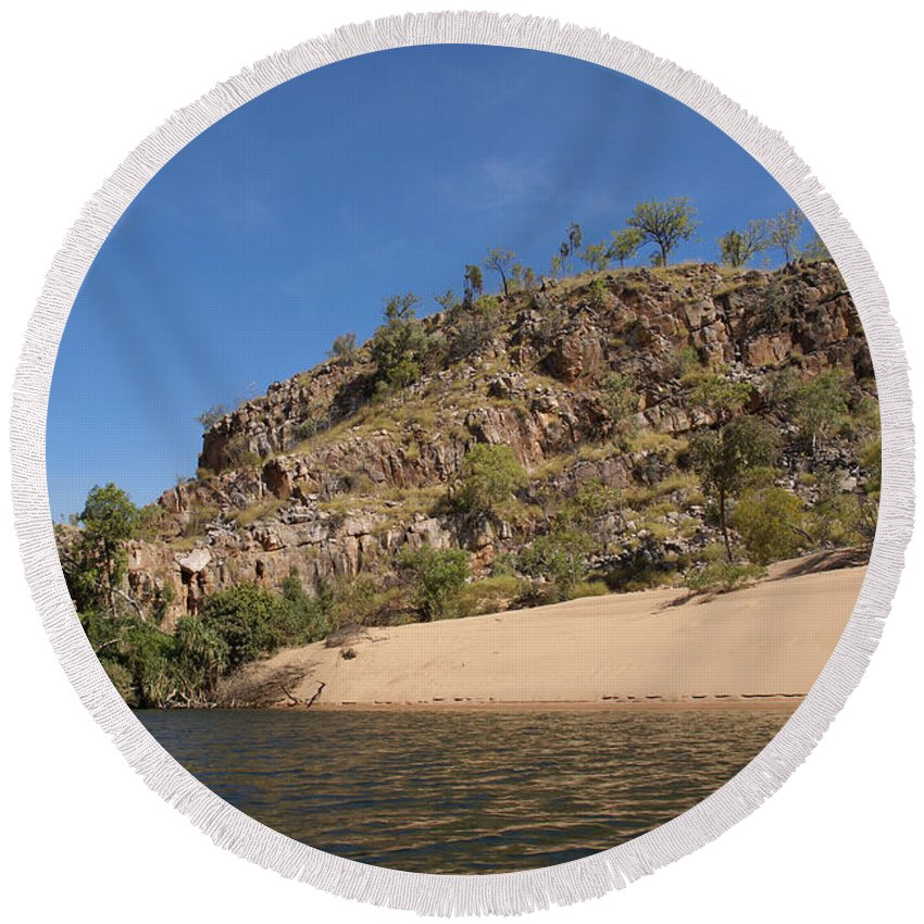 Australia Round Beach Towel featuring the digital art Katherine Gorge Landscapes by Carol Ailles