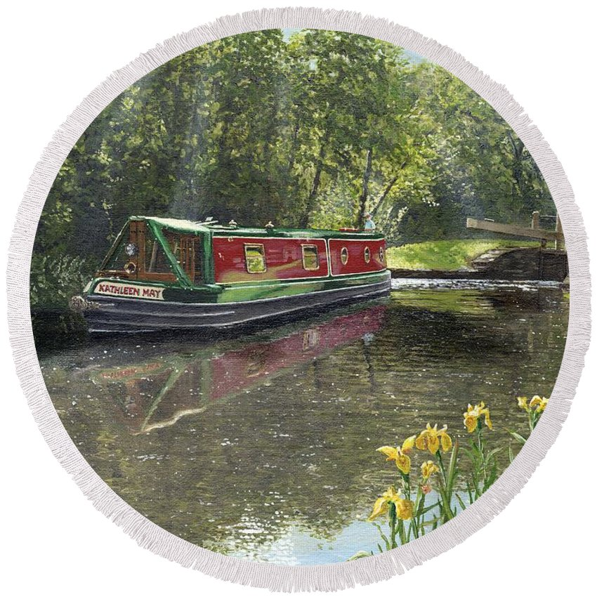 Landscape Round Beach Towel featuring the painting Kathleen May Chesterfield Canal Nottinghamshire by Richard Harpum