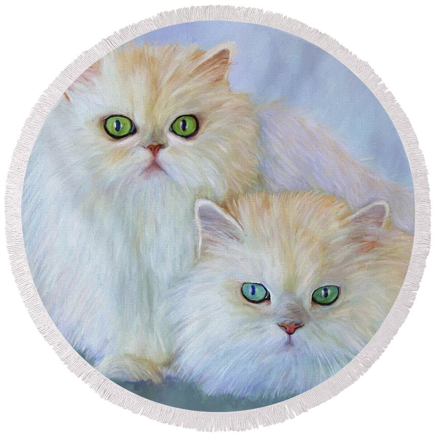 Cat Round Beach Towel featuring the painting Katrina And Bjorn by David Wagner