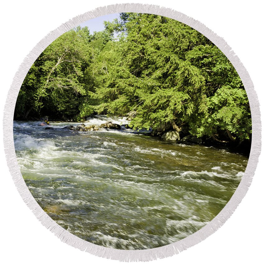 Gull Round Beach Towel featuring the photograph Kayaking On Gull River by Les Palenik