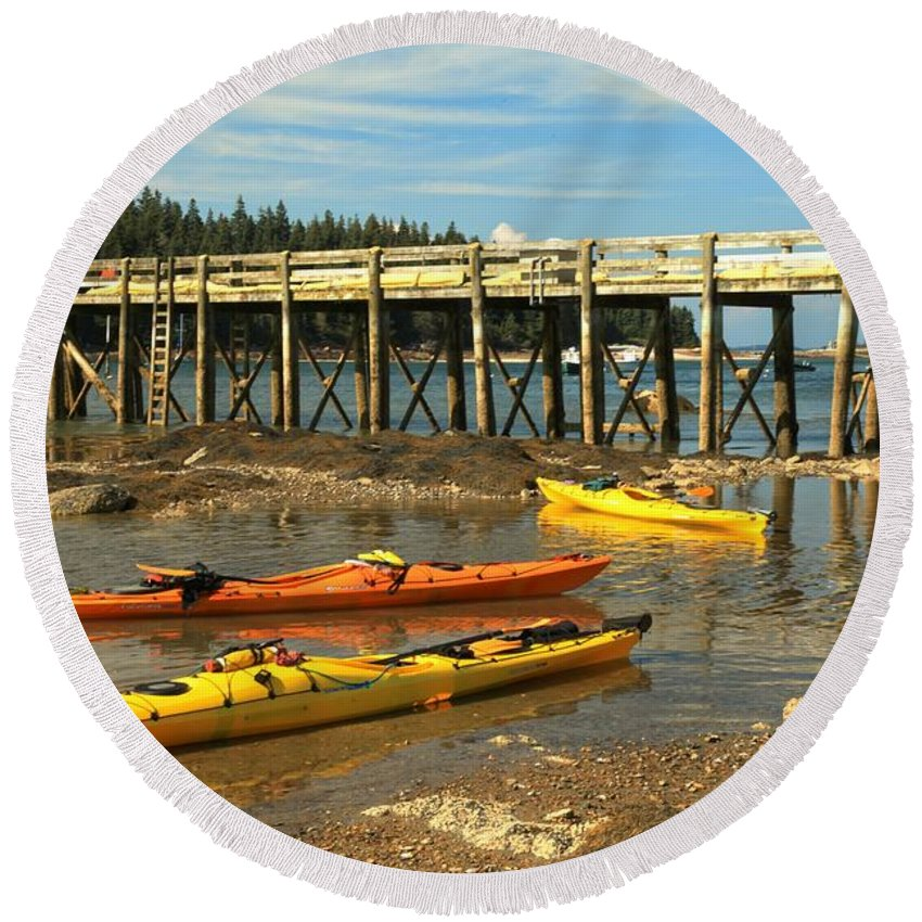 Acadia National Park Round Beach Towel featuring the photograph Kayaks By The Pier by Adam Jewell