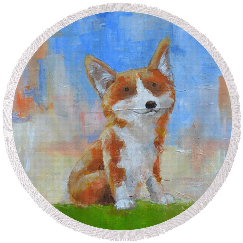 Corgi Round Beach Towel featuring the painting Keegan's Guardian by Melissa Peterson