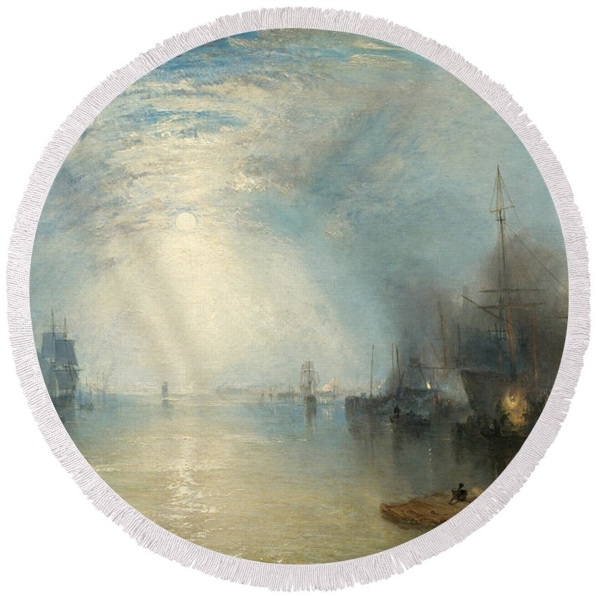 Shipping; Industry; Coal; Fire; Night; Moon; Sailing; Sail; Boat; Burning; Coal; Kealboat; Keels; Cargo Round Beach Towel featuring the painting Keelmen Heaving In Coals By Moonlight by Joseph Mallord William Turner