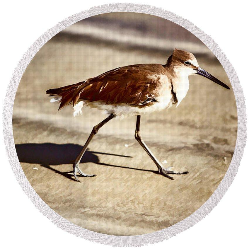 Birds Round Beach Towel featuring the painting Keep On Truckin by John Haldane
