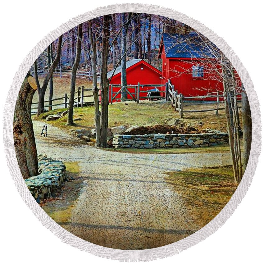 Landscape Round Beach Towel featuring the photograph Keep Out by Diana Angstadt