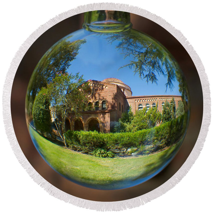 Kendall Round Beach Towel featuring the photograph Kendal Hall Chico State University by Robert Woodward