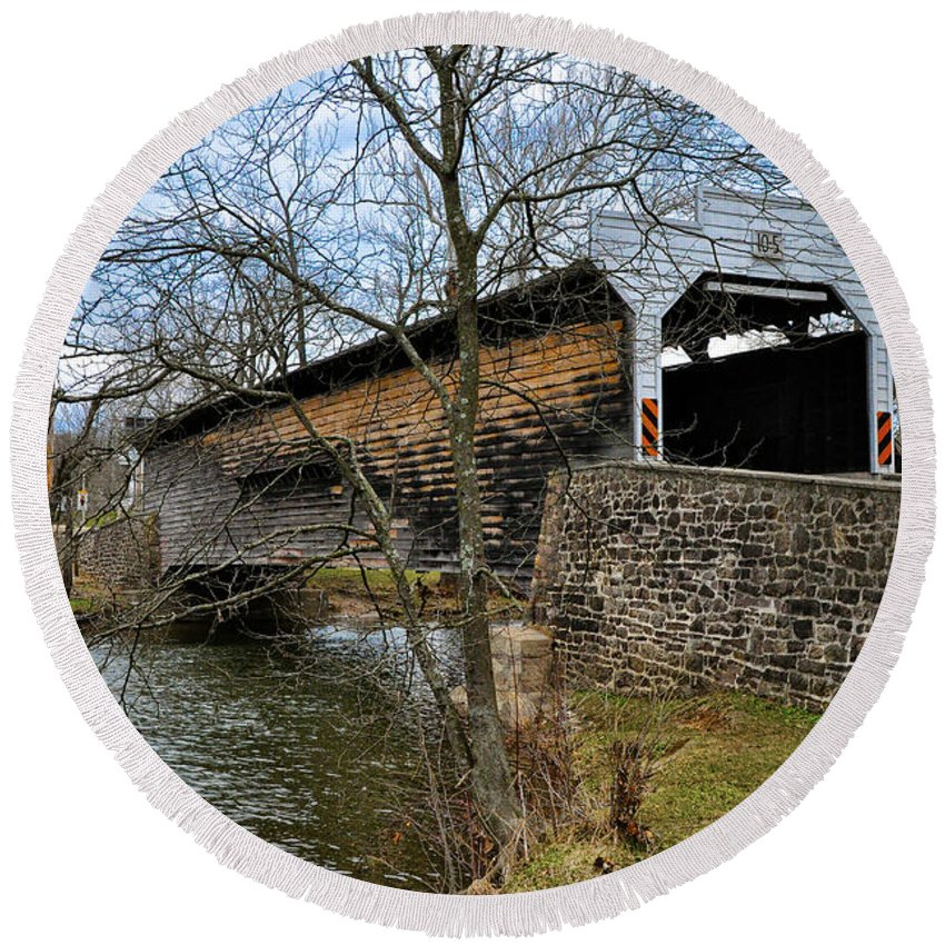 Kennedy Round Beach Towel featuring the photograph Kennedy Covered Bridge - Chester County Pa by Bill Cannon
