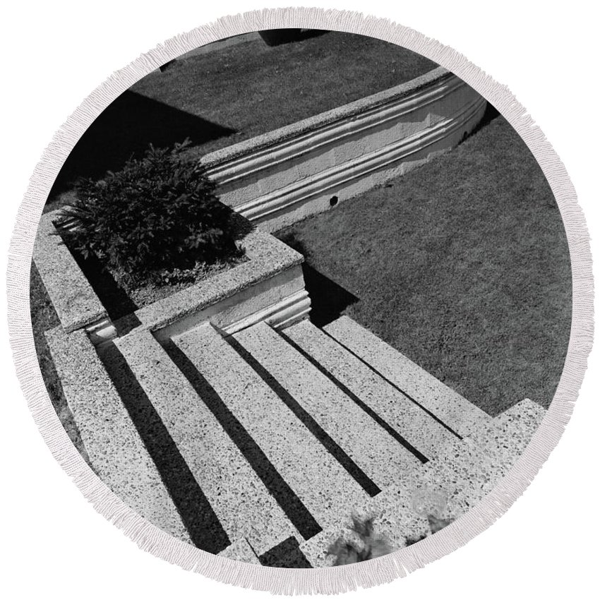 Exterior Round Beach Towel featuring the photograph Kenneth Kassler's Garden by Robert M. Damora