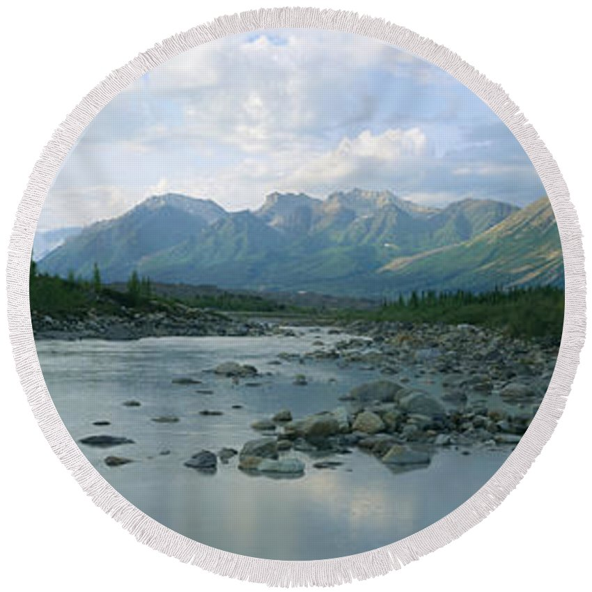 Photography Round Beach Towel featuring the photograph Kennicott River Wrangell St Elias by Panoramic Images