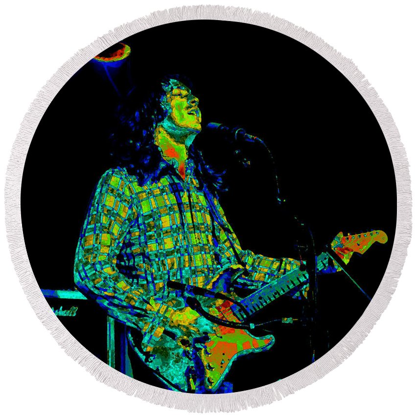 Guitarists Round Beach Towel featuring the photograph Kent #69 Enhanced In Cosmicolors 2 by Ben Upham