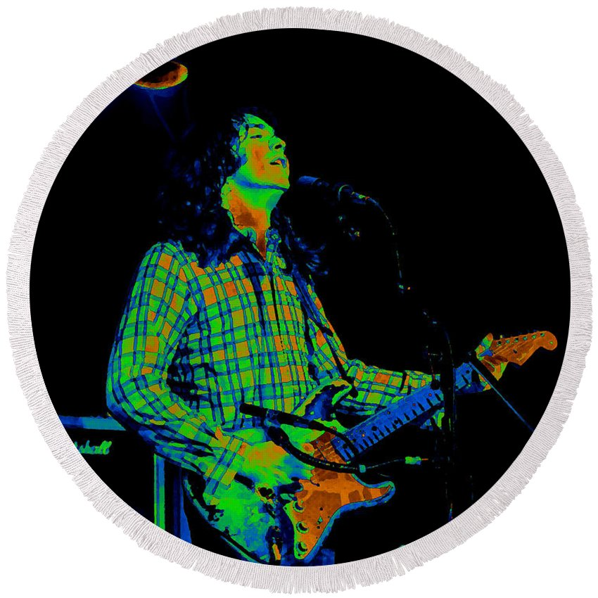 Guitarists Round Beach Towel featuring the photograph Kent #69 Enhanced In Cosmicolors by Ben Upham