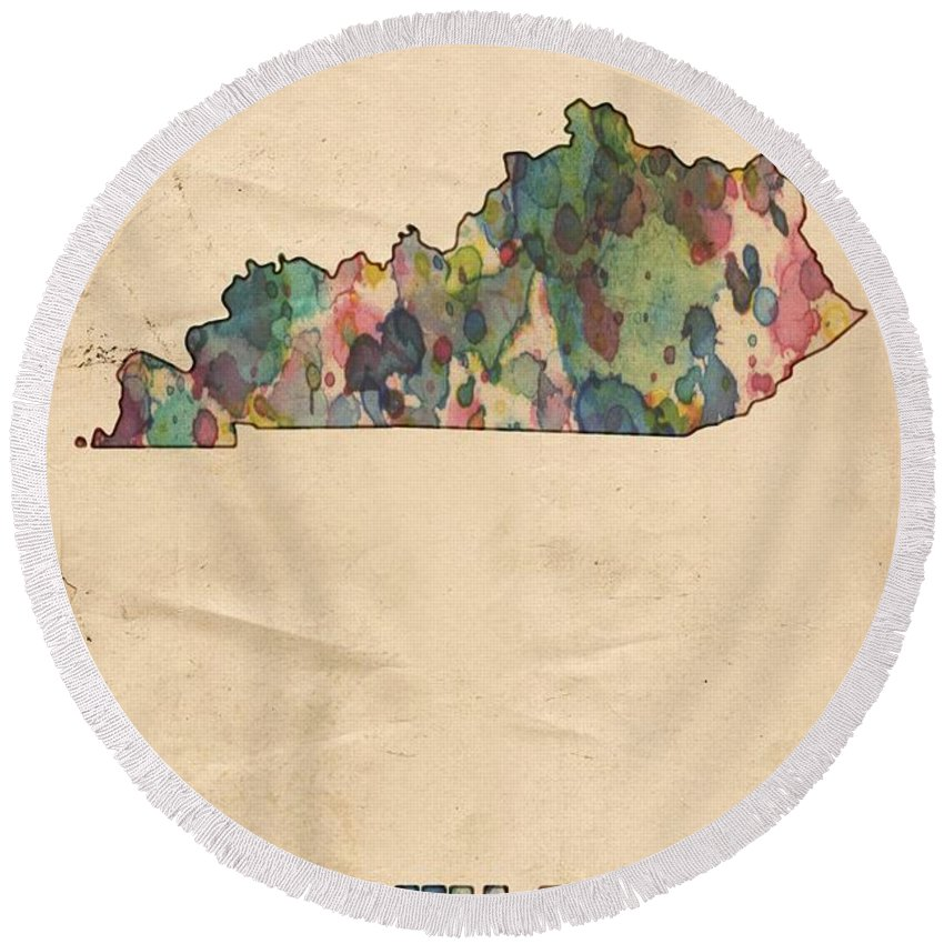Kentucky Round Beach Towel featuring the painting Kentucky Map Vintage Watercolor by Florian Rodarte