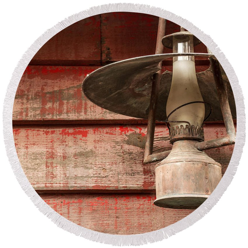West Round Beach Towel featuring the photograph Kerosene Lantern by Carlos Caetano