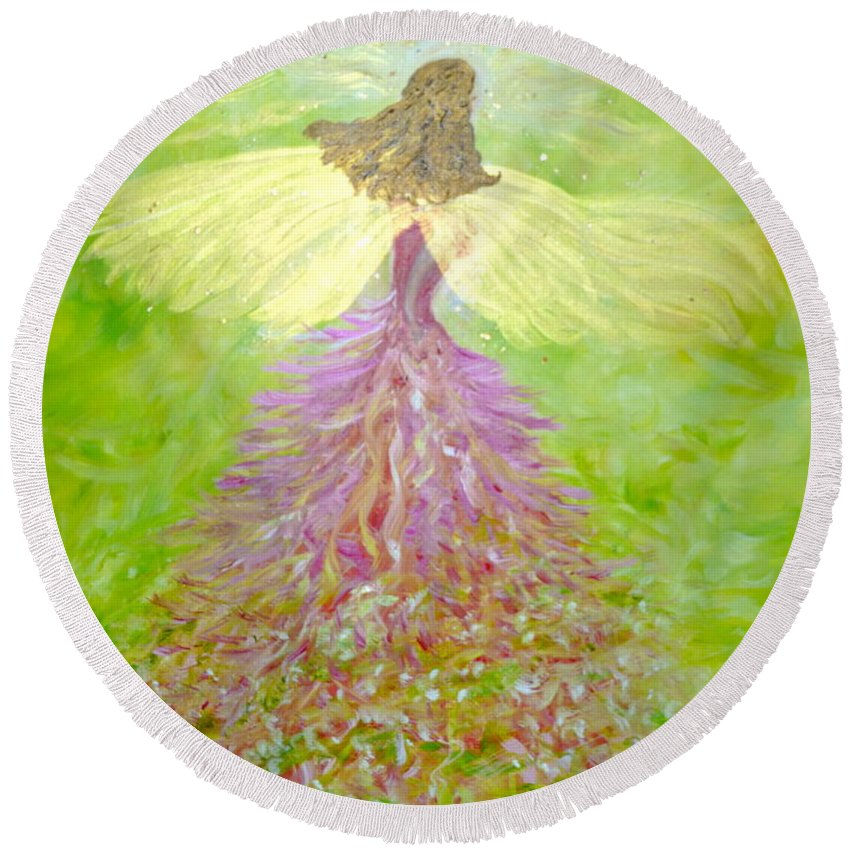 Inspirational Round Beach Towel featuring the painting Kerry Angel by Sara Credito