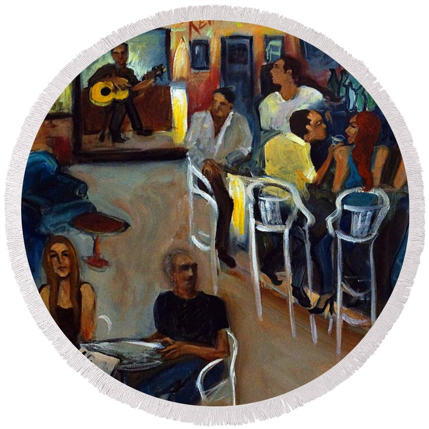 Art Bar Round Beach Towel featuring the painting Kevro's Art Bar by Valerie Vescovi