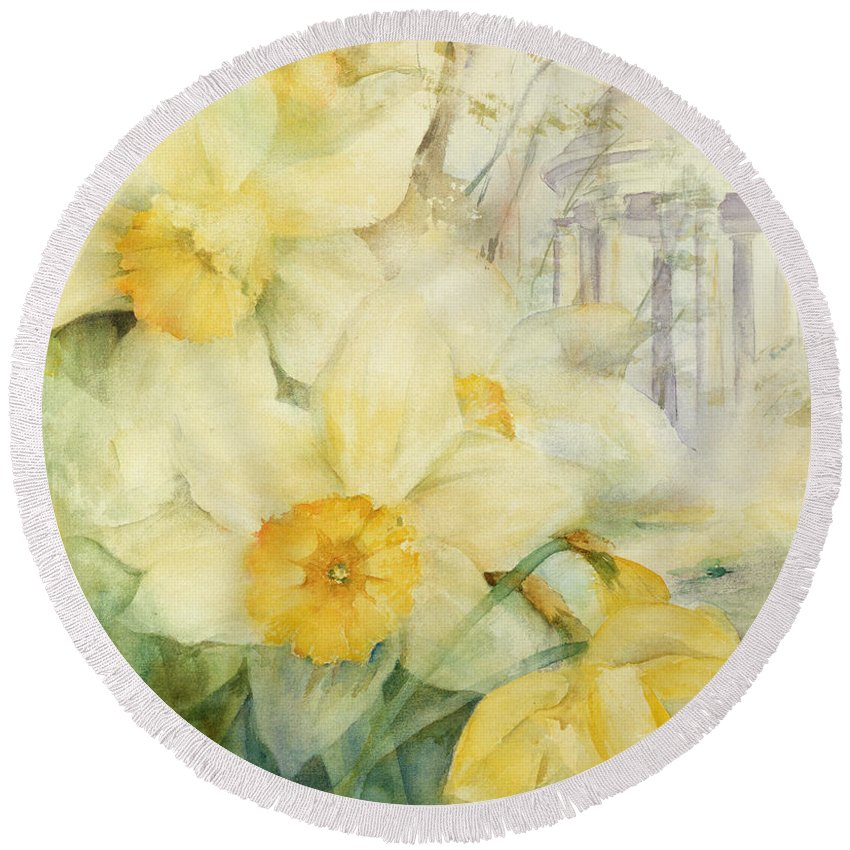 Daffodils Round Beach Towel featuring the painting Kew Gardens by Karen Armitage