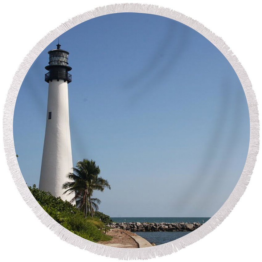 Ligthouse Round Beach Towel featuring the photograph Key Biscayne Lighthouse by Christiane Schulze Art And Photography