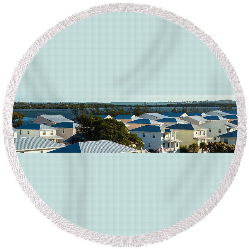 Keys Round Beach Towel featuring the photograph Key West Rooftops by Ed Gleichman