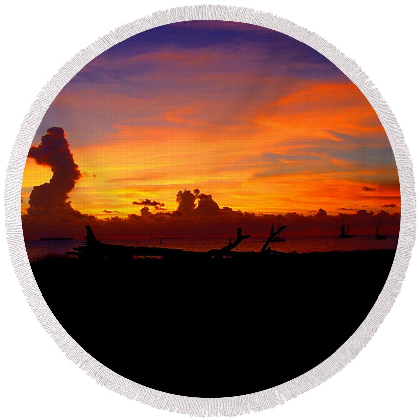 Key West Sun Set Photograph Round Beach Towel featuring the photograph Key West Sun Set by Iconic Images Art Gallery David Pucciarelli