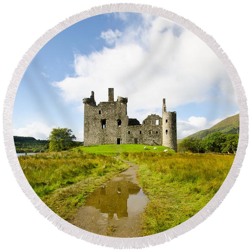 Ancient Round Beach Towel featuring the photograph Kilchurn Castle 2 by Chris Thaxter