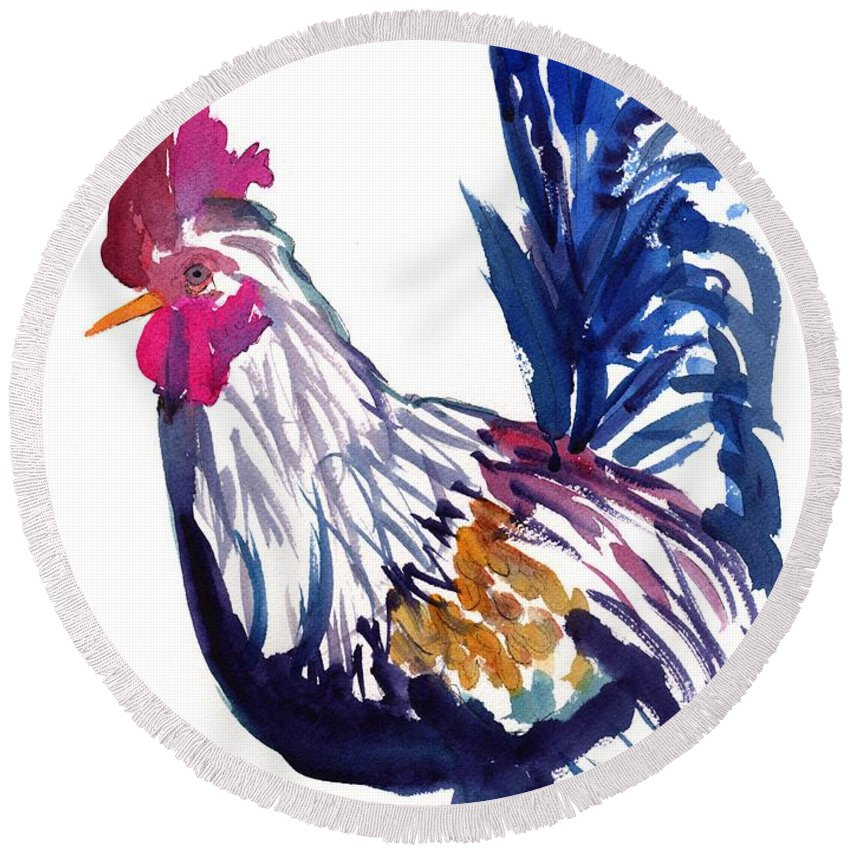 Kauai Rooster Round Beach Towel featuring the painting Kilohana Rooster by Marionette Taboniar