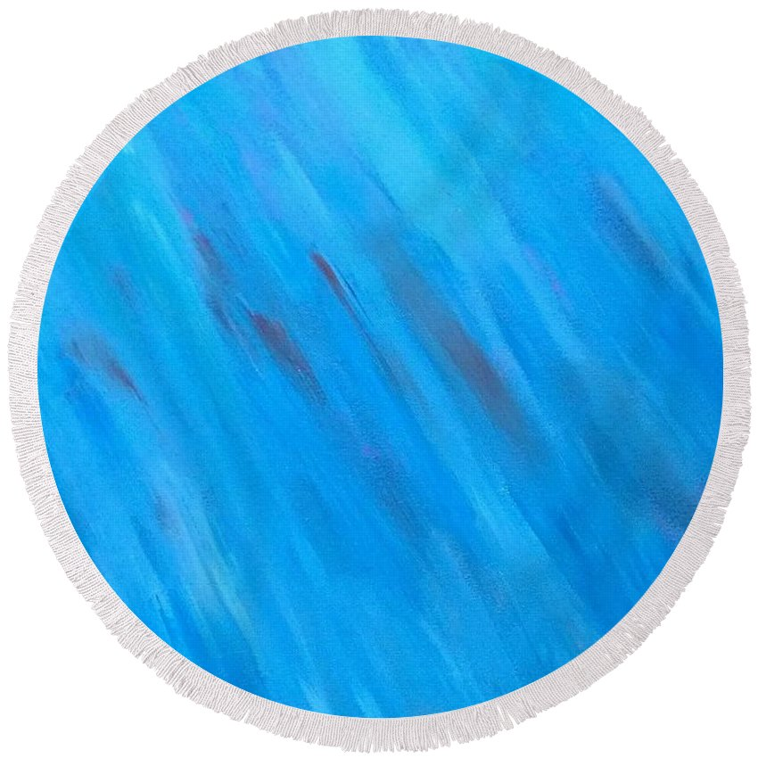 Abstract Round Beach Towel featuring the painting Kind Of Blue by Kevin Ramlogan
