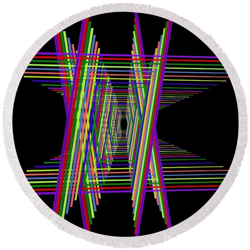 Kinetic Round Beach Towel featuring the digital art Kinetic Rainbow 16 by Tim Allen