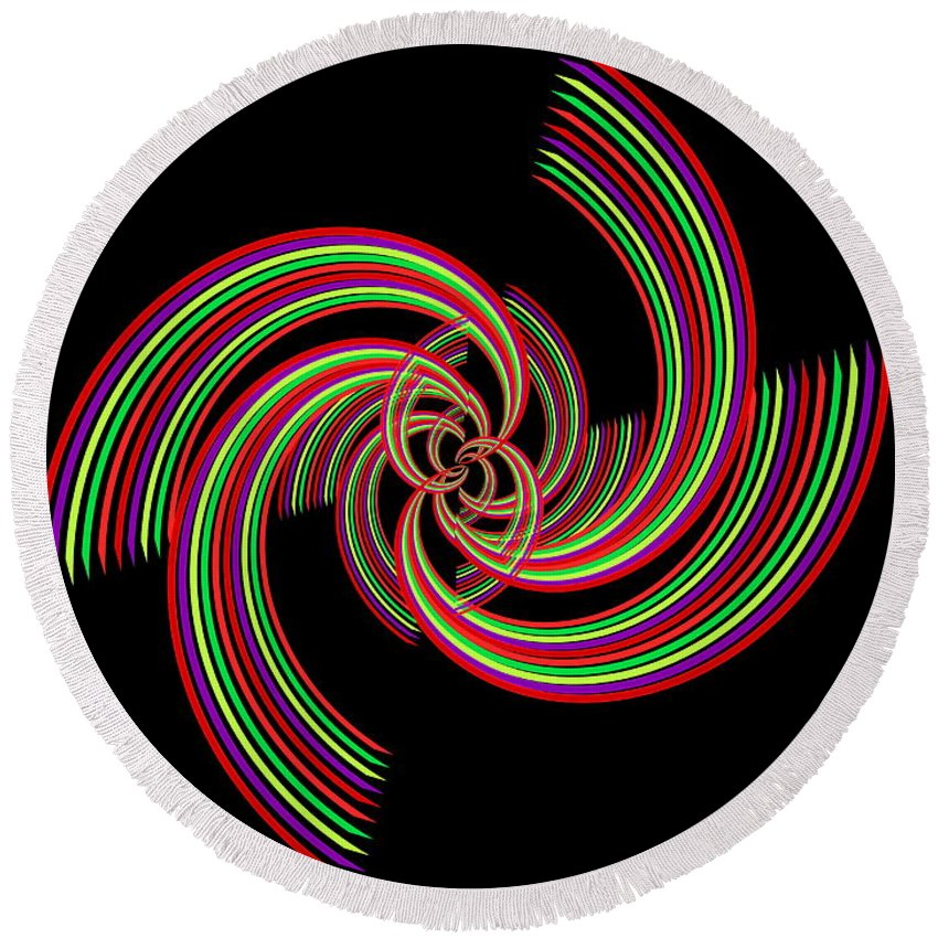 Abstract Round Beach Towel featuring the digital art Kinetic Rainbow 19 by Tim Allen