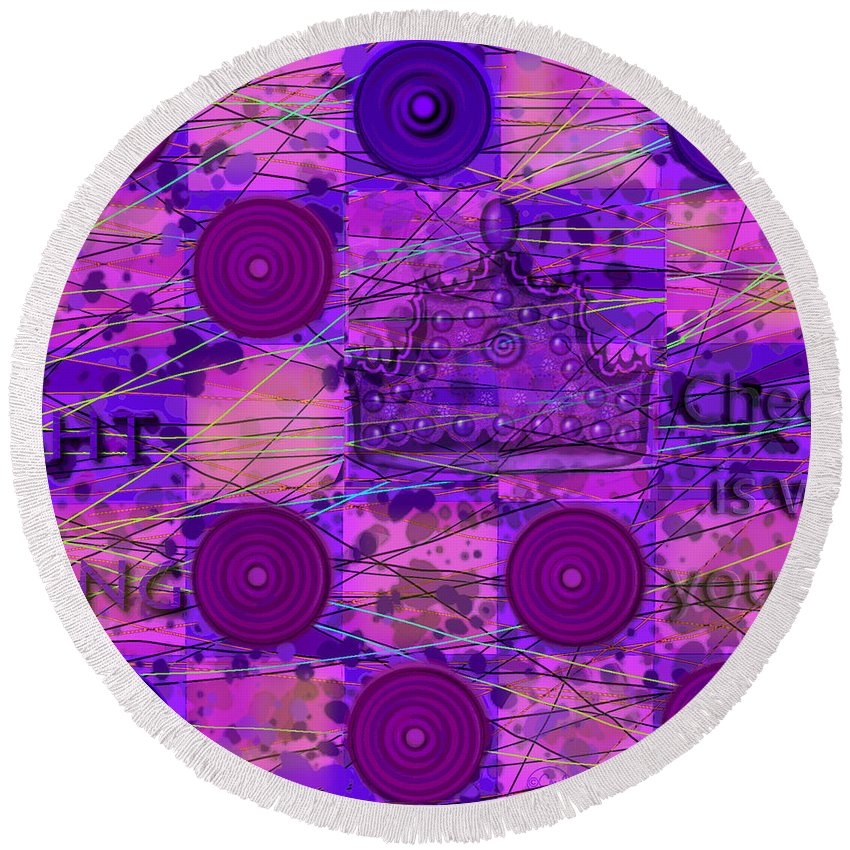 Checkers Round Beach Towel featuring the digital art King Me by Carol Jacobs