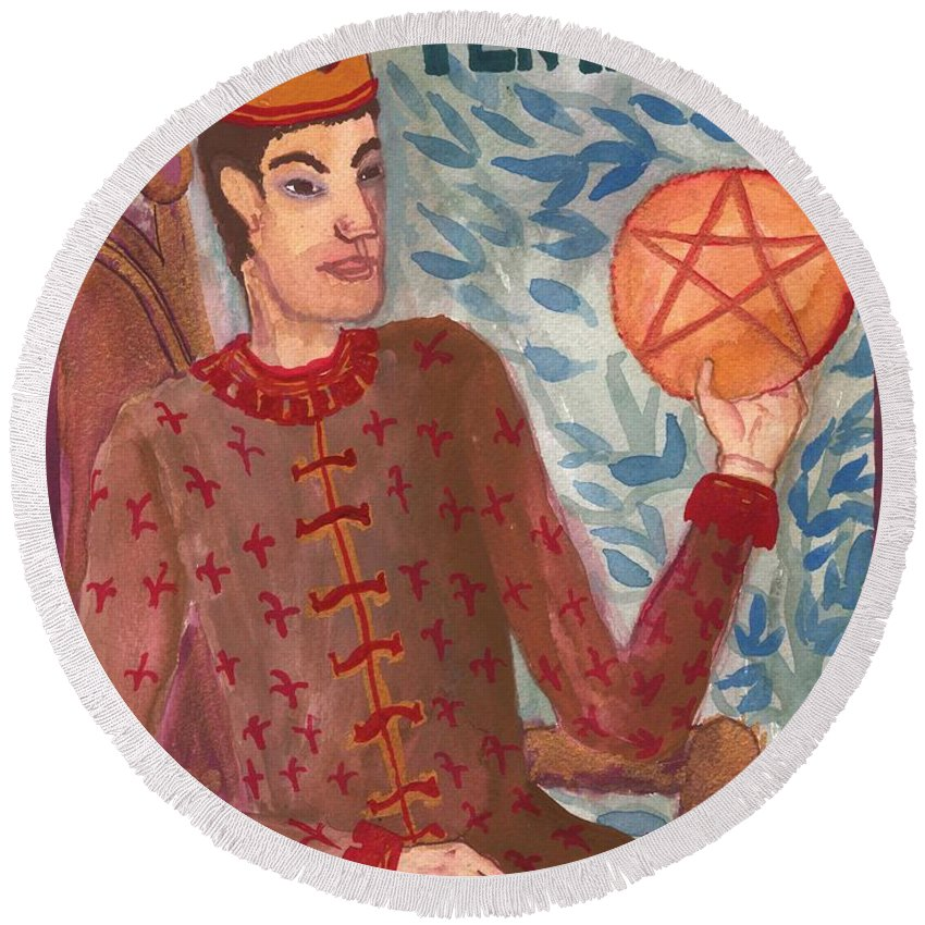 Tarot Round Beach Towel featuring the painting King Of Pentacles by Sushila Burgess