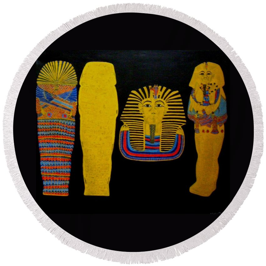 Egypt Round Beach Towel featuring the painting King Tut by Leslye Miller