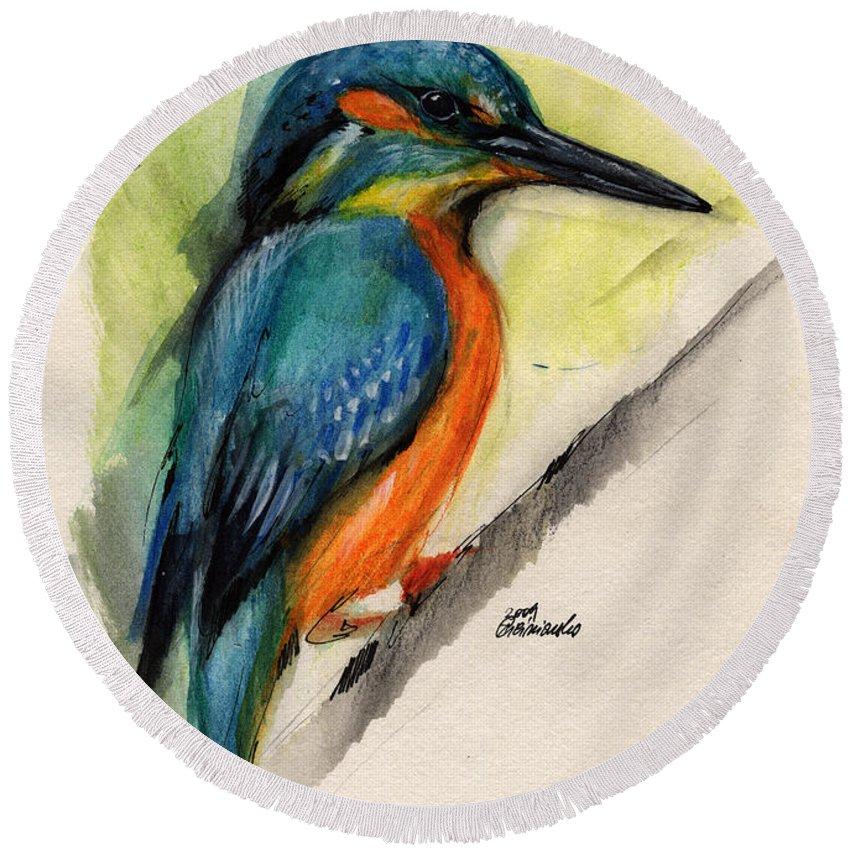 Kingfisher Round Beach Towel featuring the painting Kingfisher by Angel Ciesniarska
