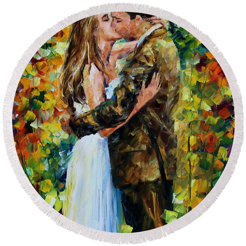 Afremov Round Beach Towel featuring the painting Kiss In The Woods by Leonid Afremov