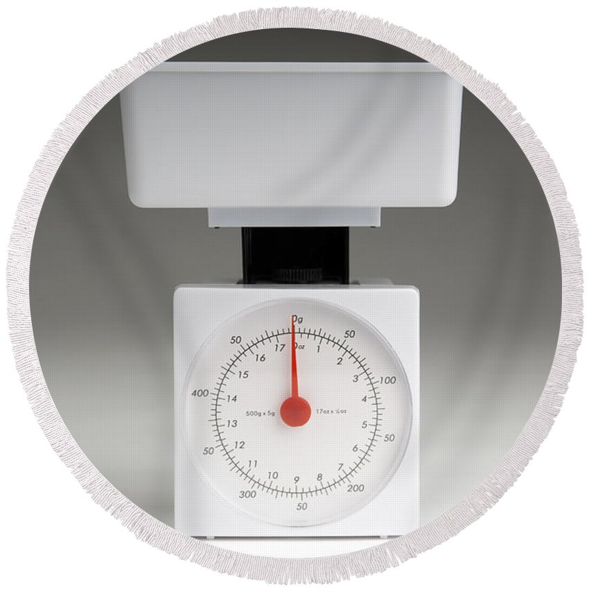 Kitchen Round Beach Towel featuring the photograph Kitchen Scales by Tim Hester