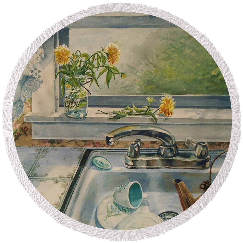 Yellow Flowers Round Beach Towel featuring the painting Kitchen Sink by Joy Nichols