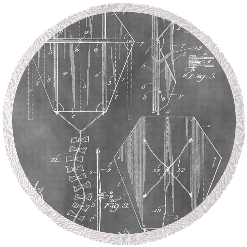 Vintage Kite Patent Round Beach Towel featuring the mixed media Kite Patent by Dan Sproul